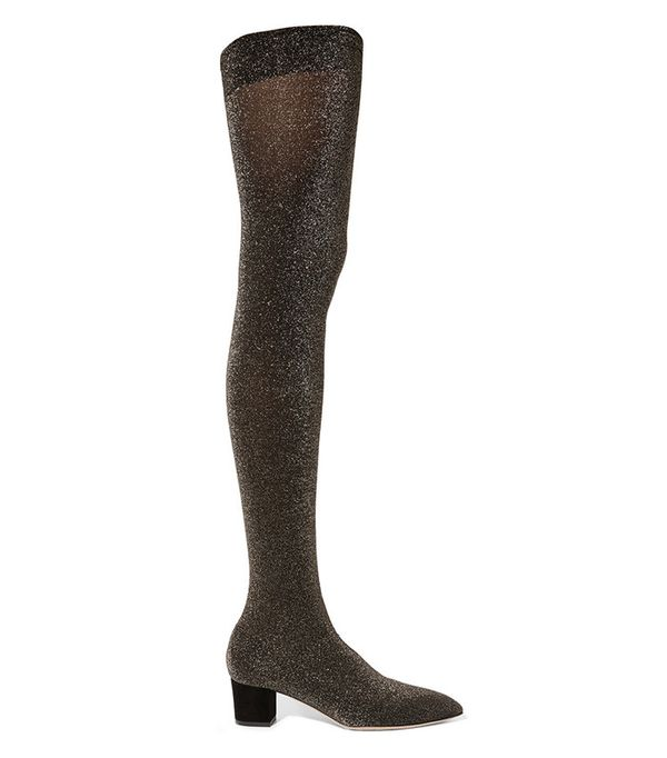 Charlotte Olympia Less Is More Metallic Jersey Over-the-Knee Boots