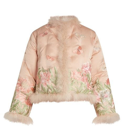 Embroidered Feather-Trimmed Silk Jacket