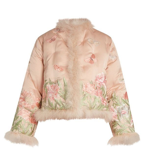 Alexander McQueen Embroidered Feather-Trimmed Silk Jacket