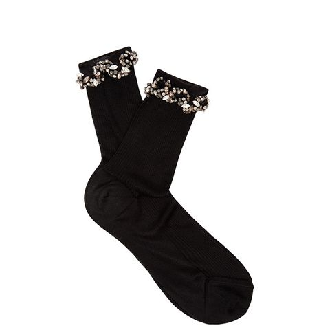 Embellished Ric-Rac Silk Socks