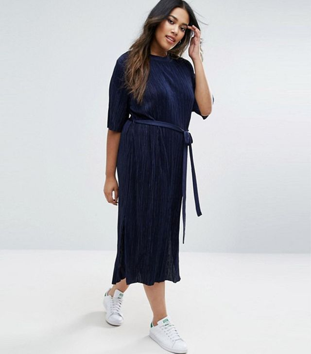 ASOS Curve Plisse Pleated Column Dress