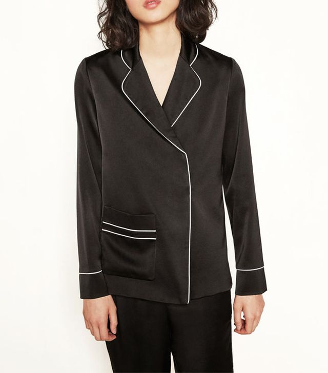 Maje Christo Satin Jacket with Trims