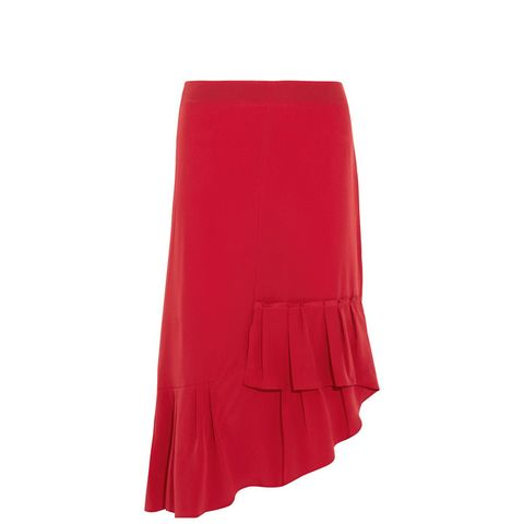 Asymmetric Pleated Silk Midi Skirt