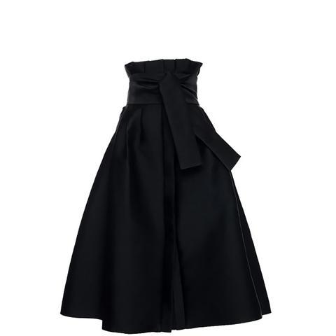 High Rise Tie Midi Skirt