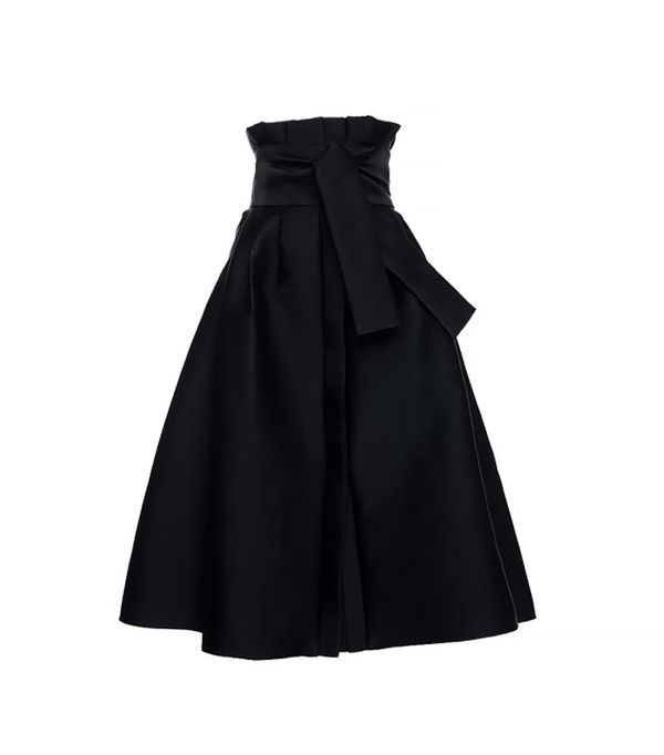 Elenareva High Rise Tie Midi Skirt