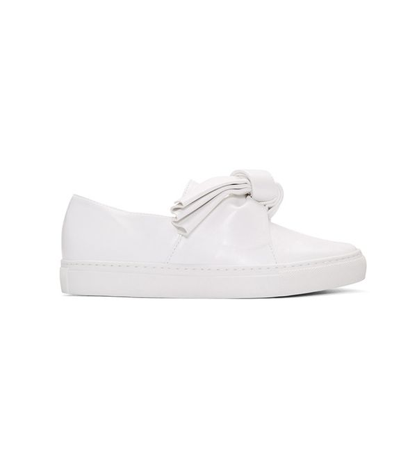 Cédric Charlier White Leather Bow Slip-On Sneakers