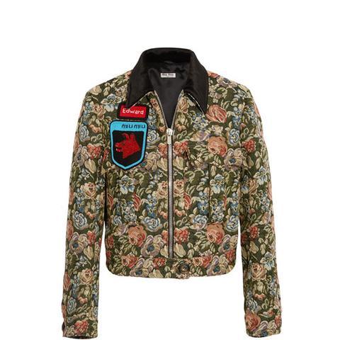 Appliquéd Velvet-Trimmed Floral-Jacquard Bomber Jacket