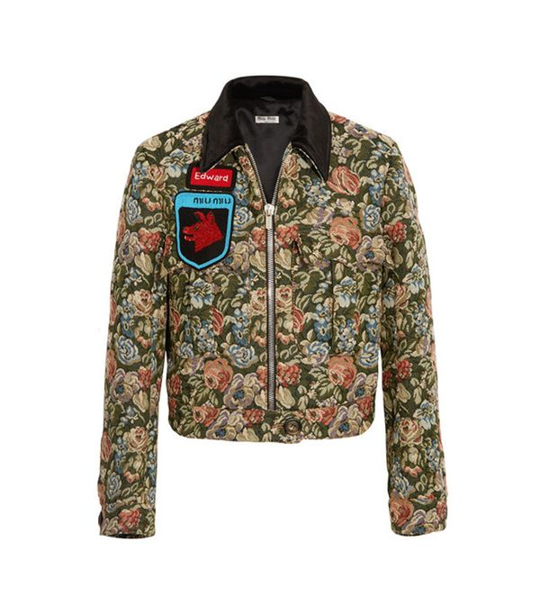 Miu Miu Appliquéd Velvet-Trimmed Floral-Jacquard Bomber Jacket