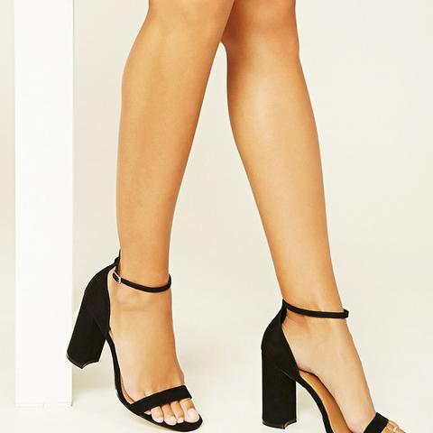 Faux Suede Ankle-Strap Heels