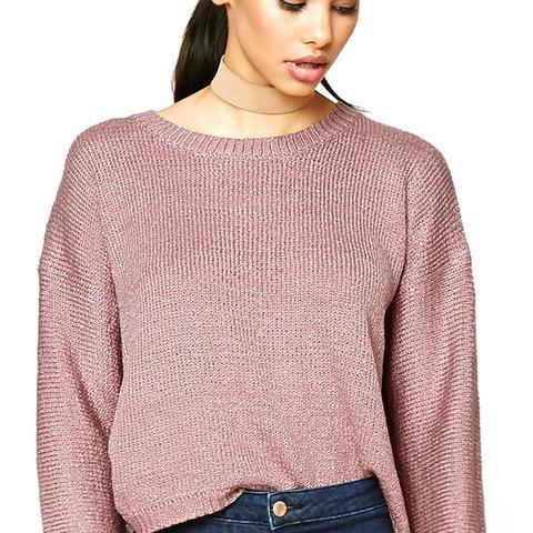 Boxy Ribbed Knit Sweater
