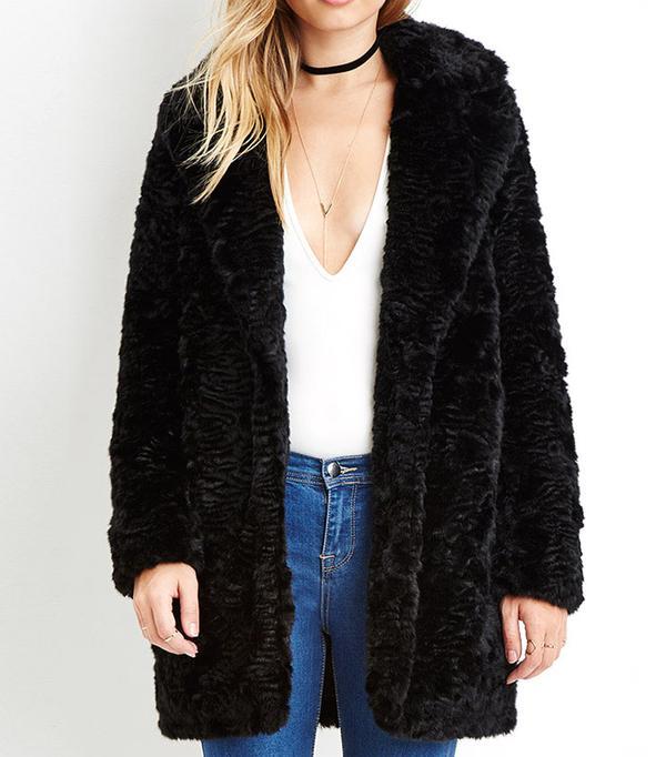 Forever 21 Longline Faux Fur Coat