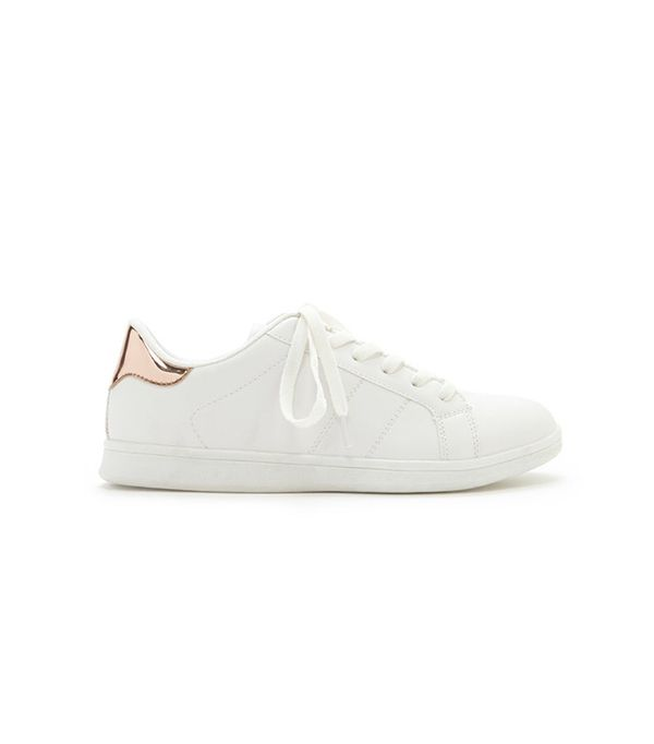 Forever 21 Metallic Trim Lace-Up Sneakers