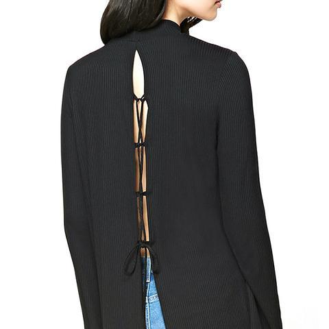 Mock Neck Lace-Up Back Top
