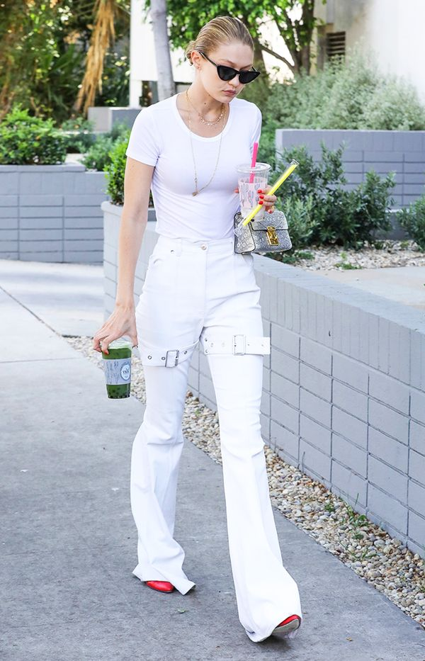 Gigi Hadid thigh strap jeans