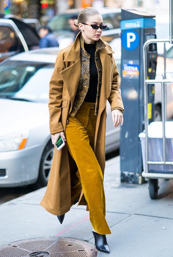 Gigi Hadid monochrome dressing