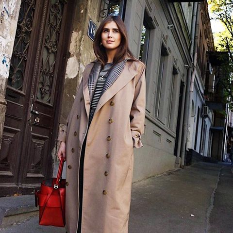 cold-weather outfits: a long trench coat you can layer