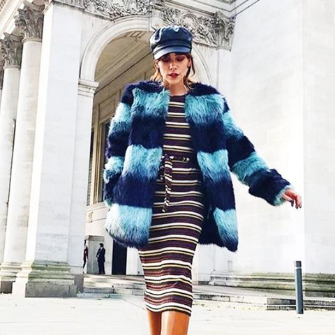 cold-weather outfits: a fluffy and cosy faux-fur coat