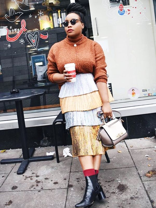 Cold Weather Outfits: a chunky knit and a metallic skirt