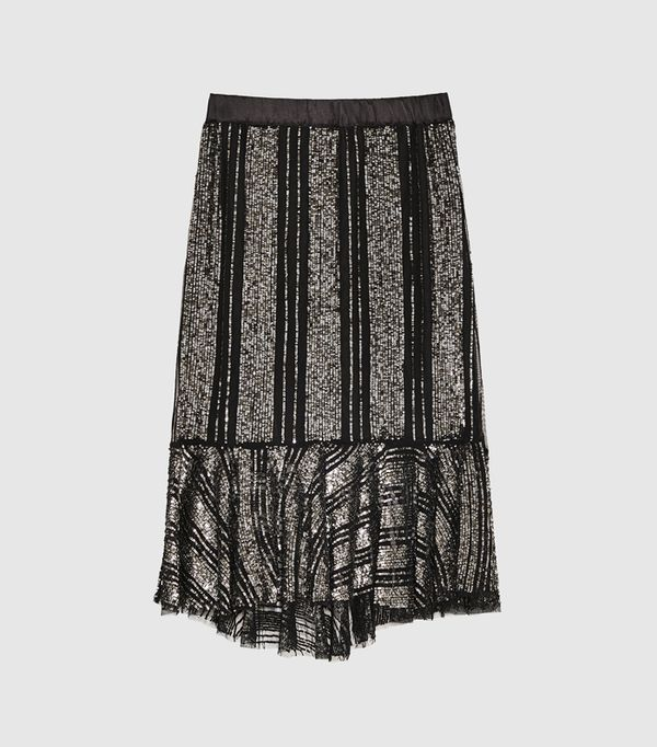 cold weather outfits: Zara Ruffled Skirt With Sequins