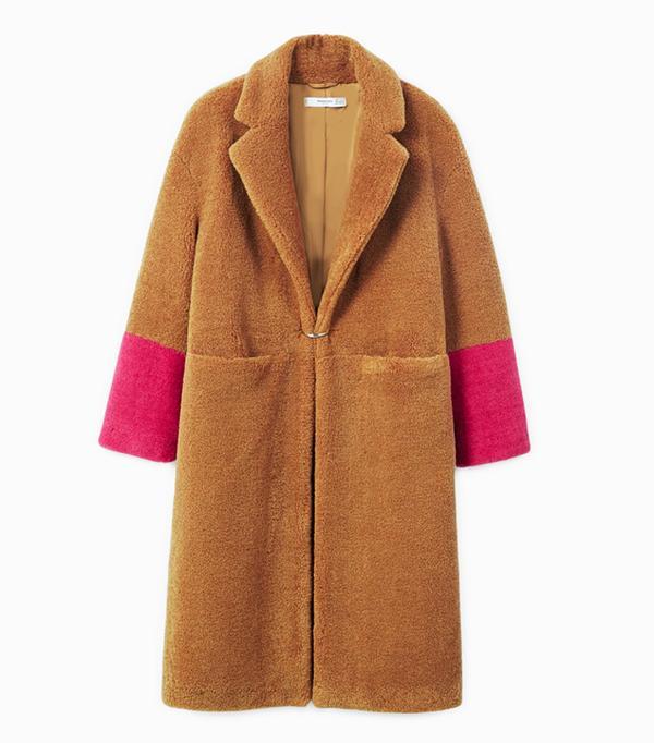 cold weather outfits: Mango Contrast Faux Fur Coat