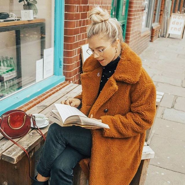 Cold Weather Outfits: isabella thorsden in a teddy coat