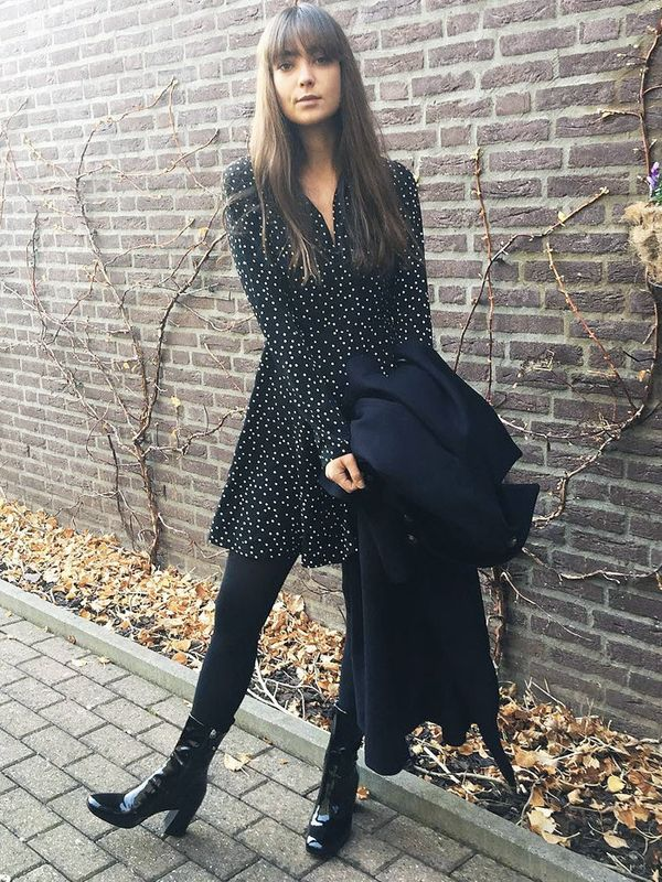 Cold Weather Outfits: a pretty dress with ankle boots