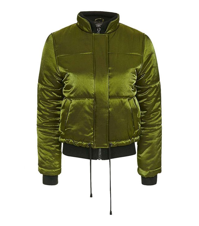Topshop Shiny Satin Puffer Jacket