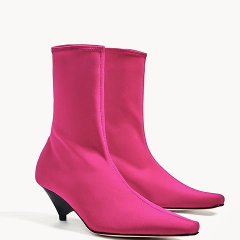 Fuschia Sock Ankle Boots