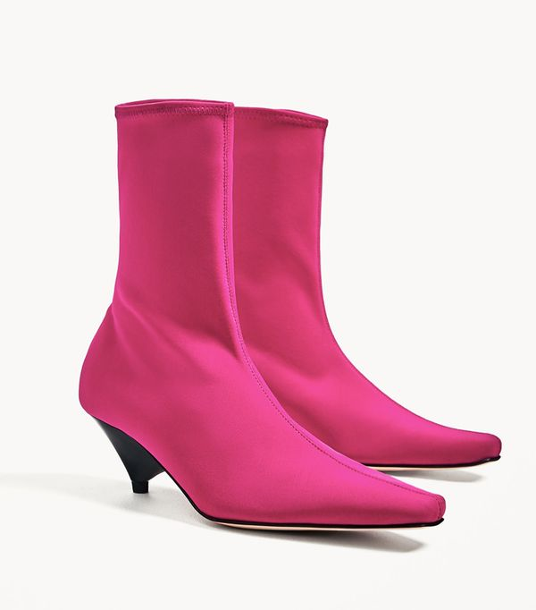 Must-See Spring Street Style Outfits to Bookmark: Zara Fuschia Sock Ankle Boots