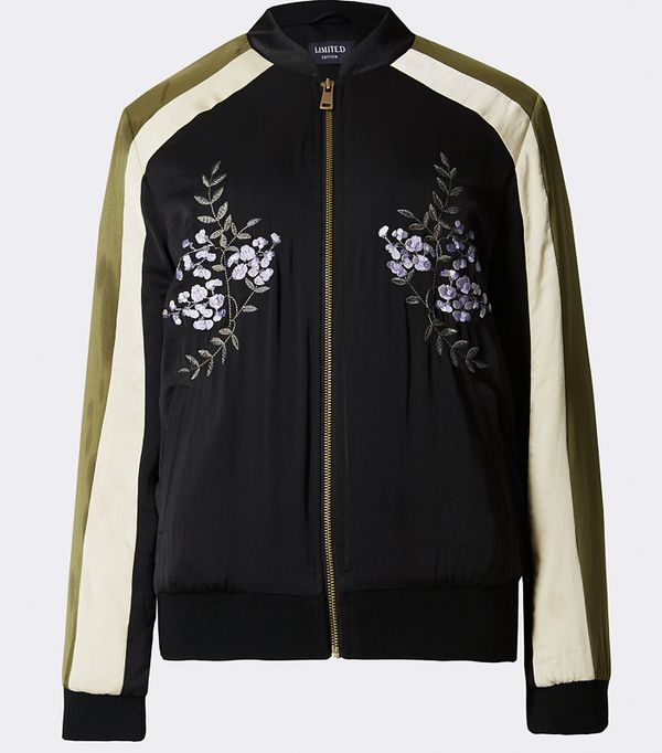Must-See Spring Street Style Outfits to Bookmark: Marks & Spencer Embroidered Bomber Jacket
