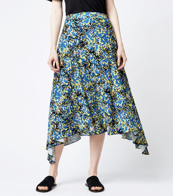 Must-See Spring Street Style Outfits to Bookmark: Warehouse Flower Burst Midi Skirt