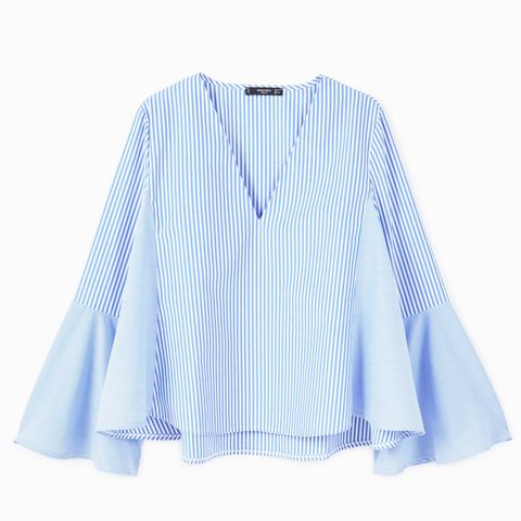 Ruffled Stripe-Patterned Blouse