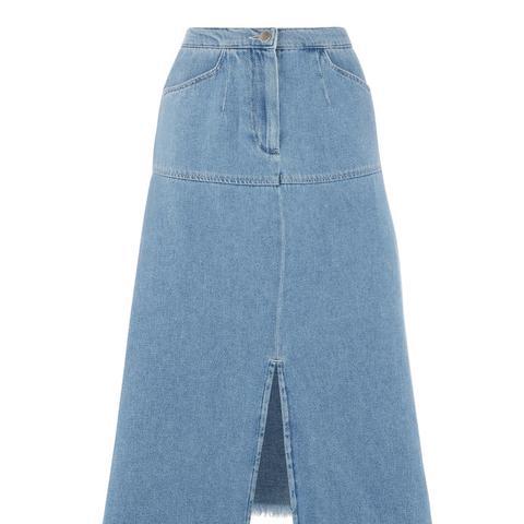 Split Front Raw Edge Skirt