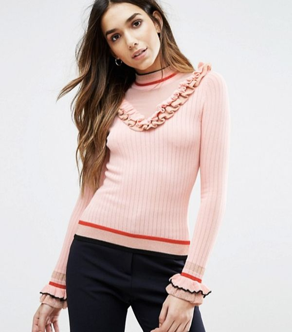 Must-See Spring Street Style Outfits to Bookmark: River Island Mesh Panel Frill Jumper