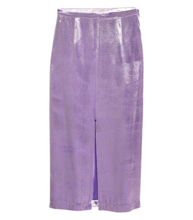 H&M Silk-Blend Velvet Skirt