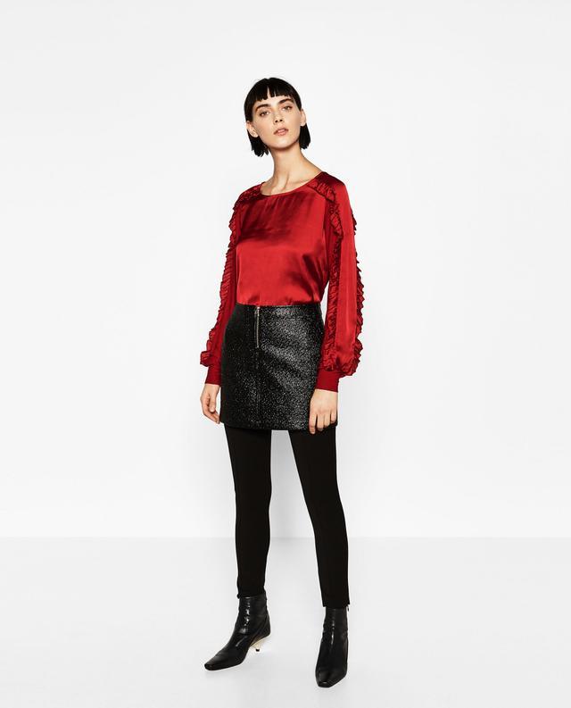Zara Contrast Frilled Blouse