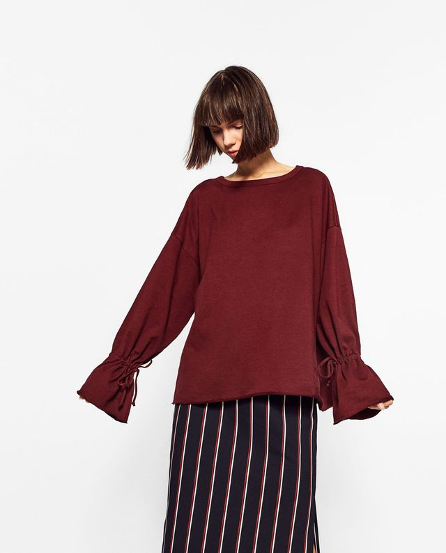 Zara Gathered Sleeve Sweatshirt