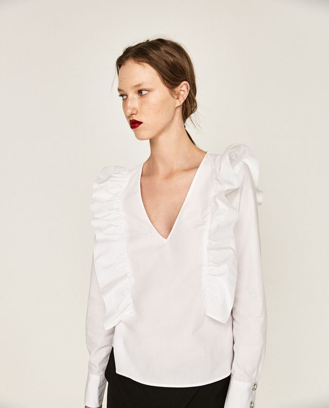 Zara Frilled V-Neck Blouse