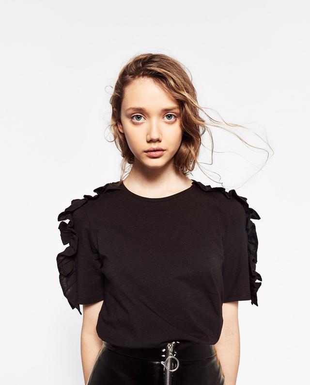 Zara Frilled Shoulder T-Shirt