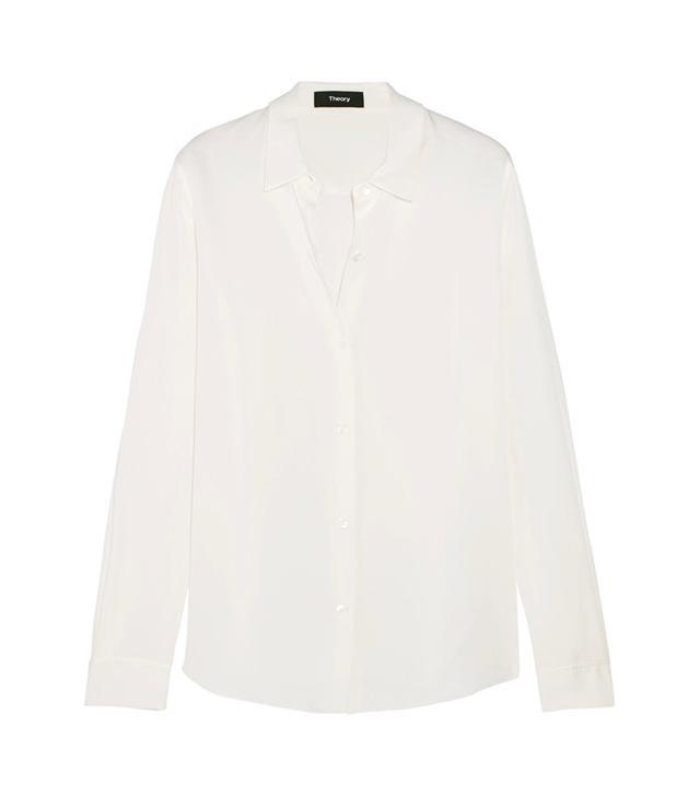Theory Tenia Silk Crepe De Chine Shirt
