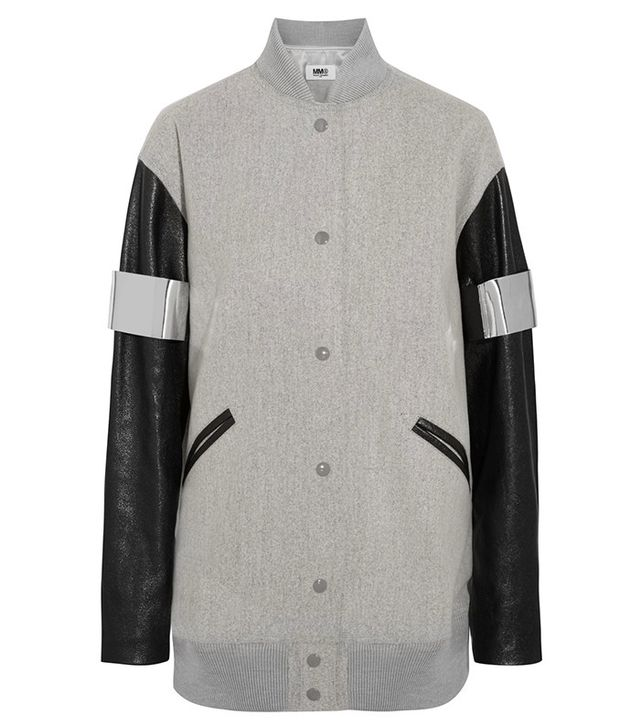 MM6 Maison Margiela Faux Leather-Paneled Bomber Jacket