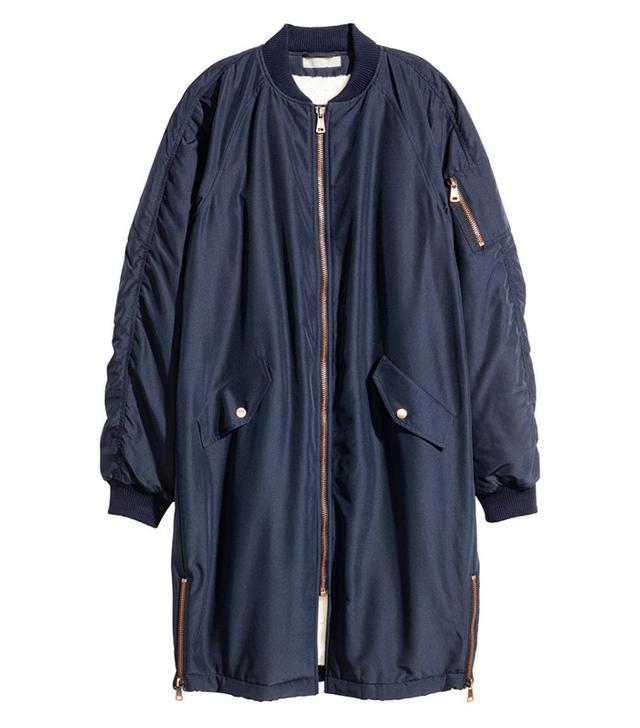 H&M Pile-Lined Bomber Jacket