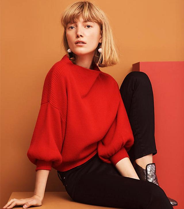 Line & Dot Balloon-Sleeve Pullover