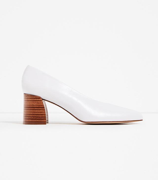 Zara Leather Mid-Heel Shoes