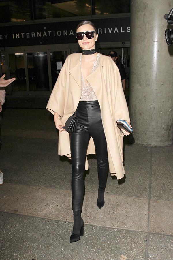 miranda kerr leather leggings coat