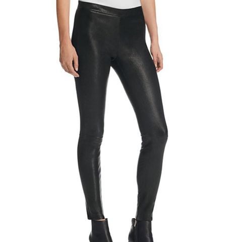 Mid Rise Leather Leggings