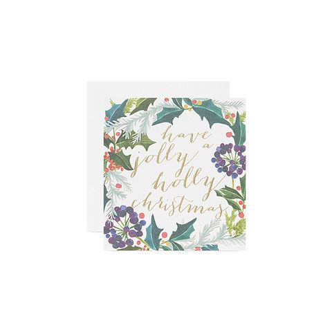 Jolly holly christmas cards set of five