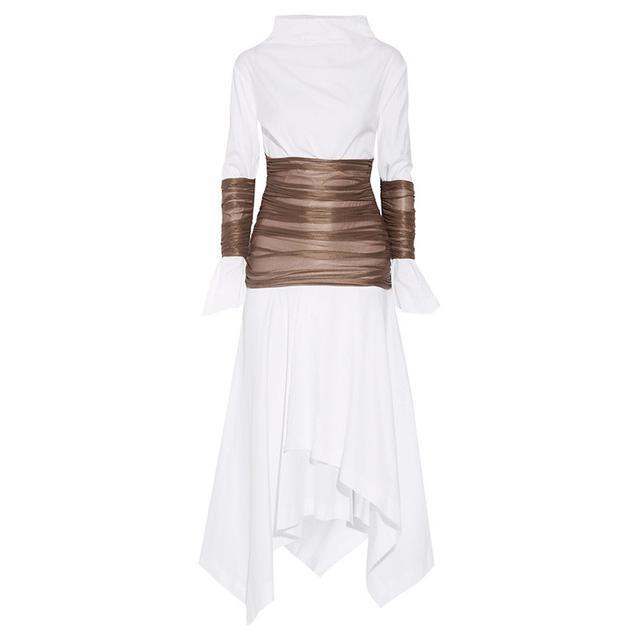 Loewe Ruched Mesh-Paneled Cotton-Poplin Midi Dress