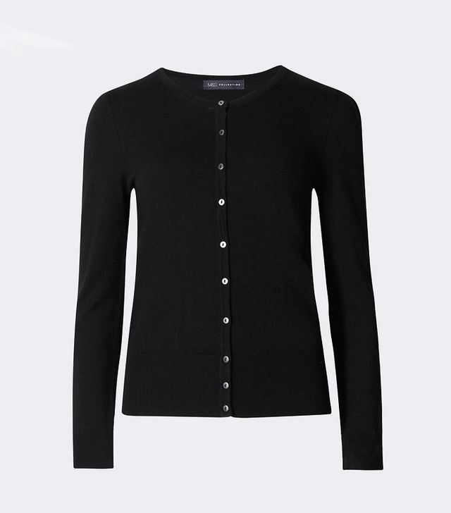 Marks & Spencer Bobble Button Through Crew Neck Cardigan