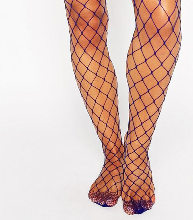 Fishnets under jeans trend: ASOS Oversized Fishnet Tights